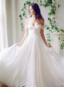 Picture Of flowy off the shoulder wedding dress with