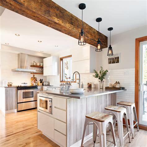 aménagement cuisine ouverte sur salle à manger une cuisine lumineuse et rustique cuisine avant après décoration et rénovation pratico