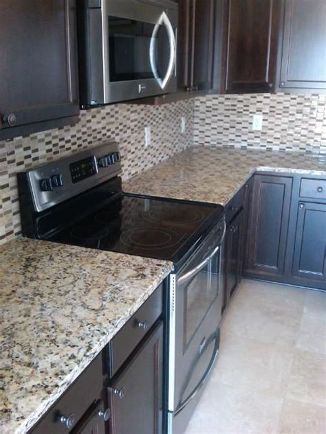 espresso cabinets and venetian gold granite counter tops