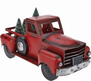 Vintage Metal Red Truck with 3 Removable Bottlebrush