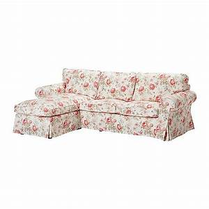 Ikea ektorp 2 seat loveseat sofa with chaise cover for Multi floral sofa covers