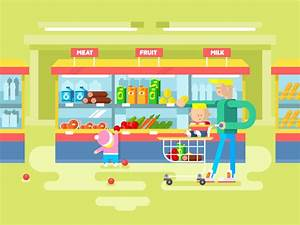 Supermarket Design Flat Illustration