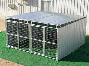 heavy duty 2 run dog kennel 6x12x6h 3 sides plus roof