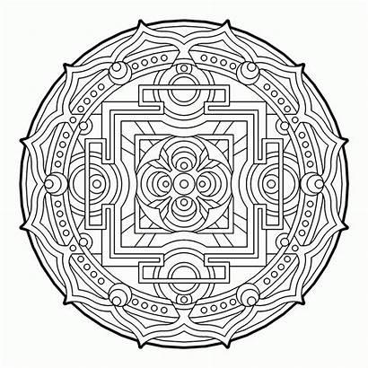 Coloring Geometric Pages Geometry Sacred Cool Mandala