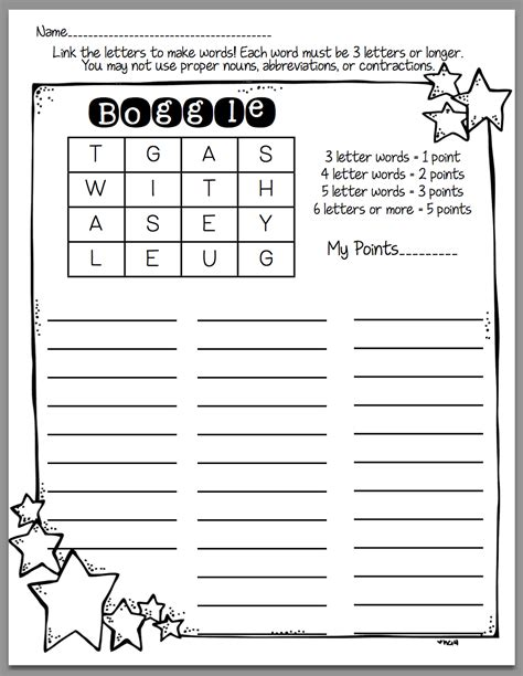how to use boggle in word work days in second grade