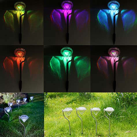 4pcs solar led color changing garden lights