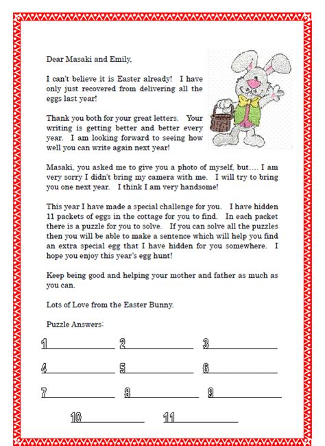 Letter To Easter Bunny Template by In Rural Japan