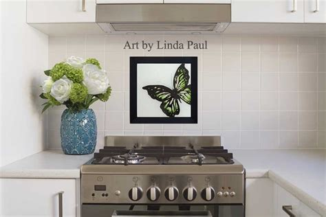 wall tile for kitchen backsplash butterfly paintings glass tiles of butterflies