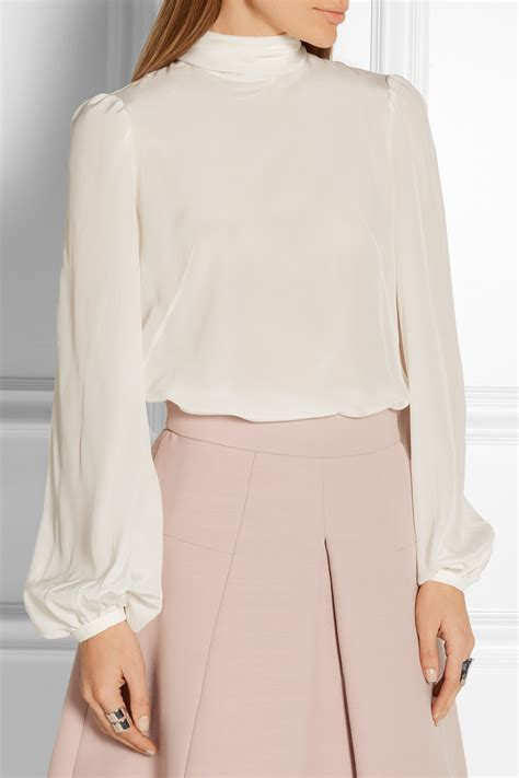 bow sleeve top lyst mcqueen silk crepe de chine blouse in white