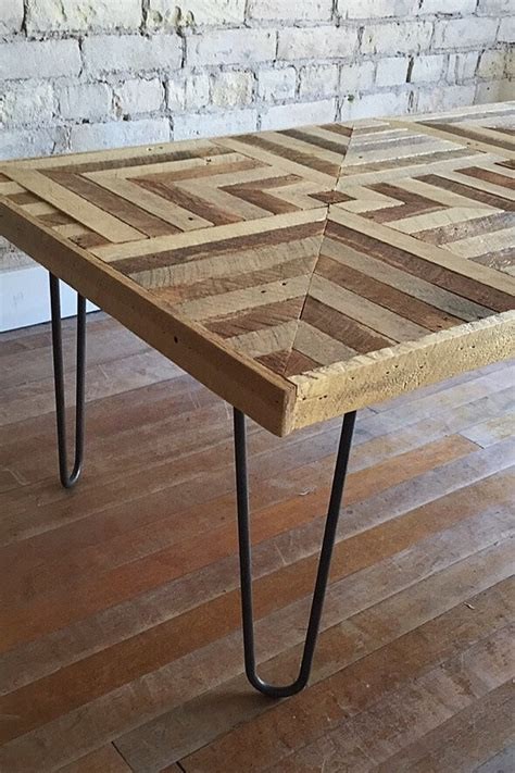 3d illusion table ls reclaimed wood coffee table hairpin legs lath geometric
