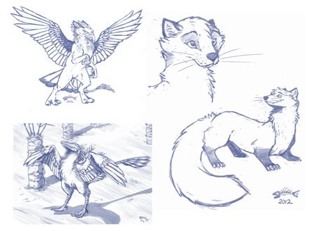 Gryphon, Archeopteryx, And Pine Marten