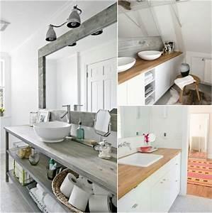 Salle De Bain Plan De Travail : plan de travail salle de bain en bois pour tous les styles ~ Melissatoandfro.com Idées de Décoration