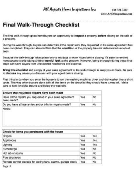 home inspection walk through checklist fill