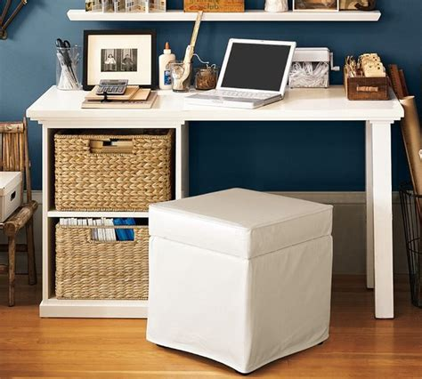 Pottery Barn Desks For Small Spaces bedford small desk set with open cabinet contemporary