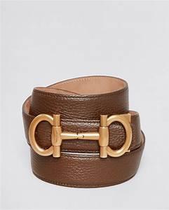 Ferragamo Pebbled Leather Parigi Bit Belt in Brown for Men ...