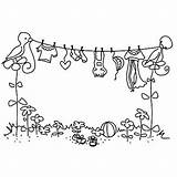 Clothesline Bird Laundry Coloring Dibujo Ropa Colorear Dibujos Molde Tendida Embroidery Patterns sketch template