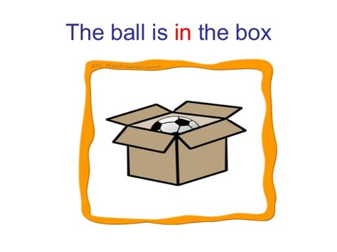 The ball is next to the box