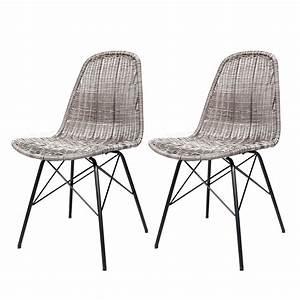Chaise En Résine Tressée : chaise tiptur en r sine tress e gris fonc lot de 2 achetez les chaises tiptur en r sine ~ Dallasstarsshop.com Idées de Décoration