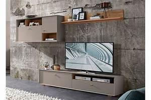 Meuble Mural Chambre : meuble tv design mural gris pierre et bois ~ Teatrodelosmanantiales.com Idées de Décoration
