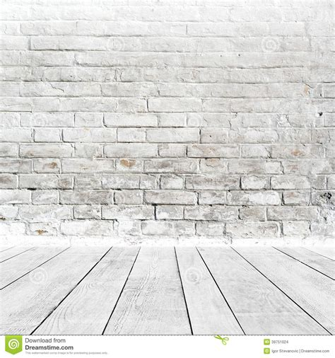 white brick floor room interior with white brick wall and wood floor stock photo image 39751024