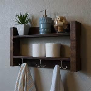modern rustic 2 tier bathroom shelf with nickel finish by
