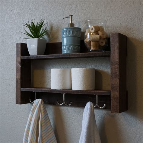 modern rustic  tier bathroom shelf  nickel finish