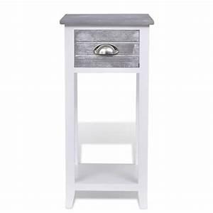 Meuble Pour Téléphone : acheter table de chevet meuble pour t l phone avec 1 tiroir gris blanc pas cher ~ Teatrodelosmanantiales.com Idées de Décoration