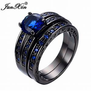 junxin new arrival black gold filled blue jewelry rings With black gold wedding rings for men