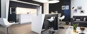 Cuisine moderne ambiance graphic mobalpa for Petite cuisine équipée avec meuble de salle a manger blanc