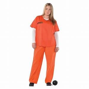 Ladies Orange Inmate Uniform Convict Prisoner New Black ...