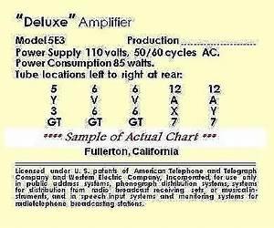 Fender 5e3 Deluxe Vintage Tube Chart Reverb