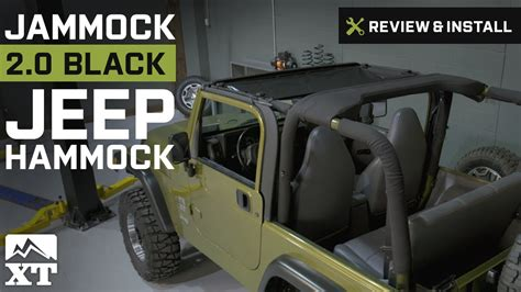 jeep wrangler jammock black  jeep hammock   yj tj jk review install youtube