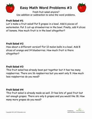word problems for beginners education