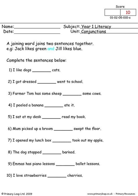 conjunctions  primaryleapcouk