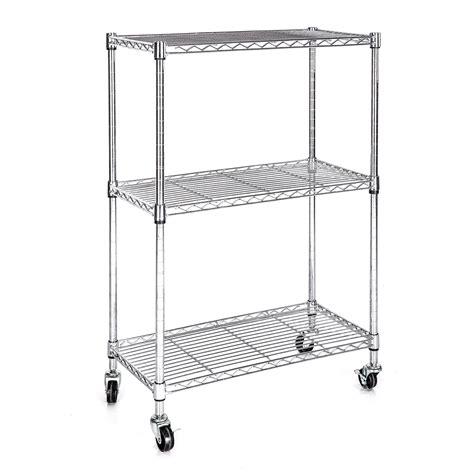Heavy Duty Chrome 3 Tier Wire Shelving Rack Cart Unit W