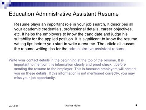 education administrative assistant resume 4
