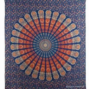 Blue Indian Floral Mandala Dorm Room Decor Hippie Tapestry ...
