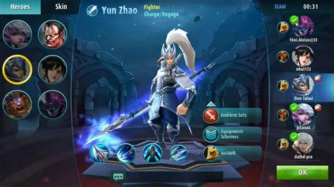 mobile legend characters mobile legends yun zhao build gear set guide