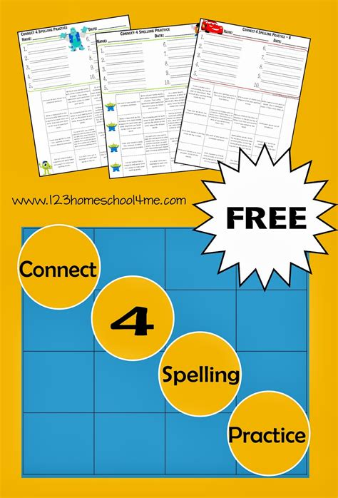 free connect 4 spelling practice 123 homeschool 4 me