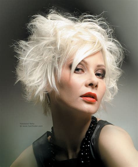 White Hairstyles by White Platinum Hairstyle With Hair Bouncing Up And Out