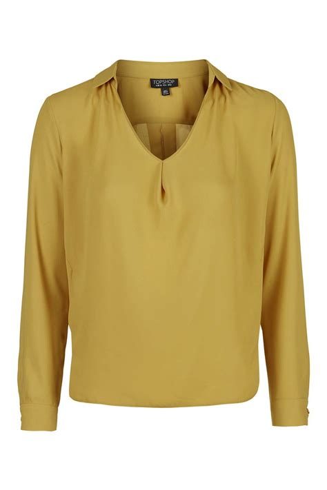 mustard blouse topshop sleeve cowl collar blouse in yellow mustard