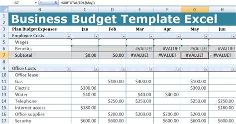 business budget template excel xlstemplates