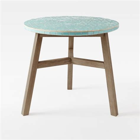 mosaic tiled bistro table blue spider web top