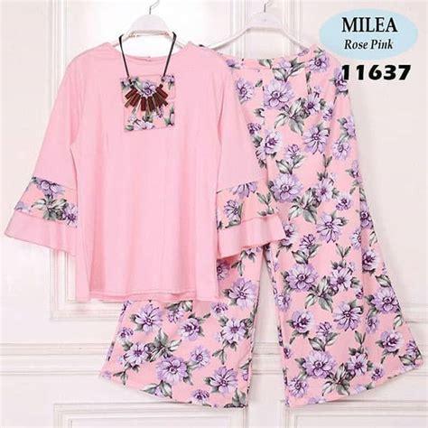 kaos anak baju anak setelan anak setelan blouse dan kulot terbaru milea pink model