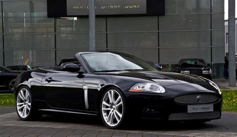 Black Cabriolet Jaguar Luxury Convertible Car on Road ...