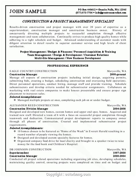 professional construction manager resume keywords