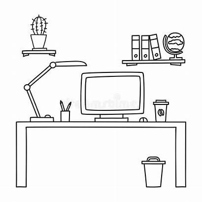 Computer Doodle Bureau Desk Een Getekend Office