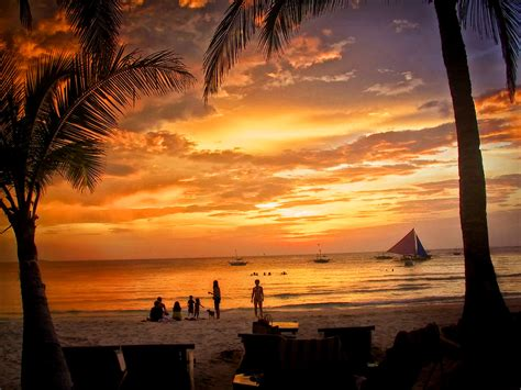 pacific island sunset boracay philippines published