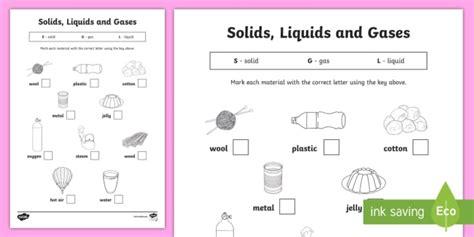 Solids Liquids And Gases Worksheet  Materials, Solids Liquids