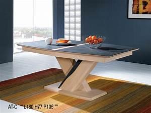 Table Pied Central Extensible : table tonneau plateau c ramique avec allonge incorpor e 470xt ~ Teatrodelosmanantiales.com Idées de Décoration